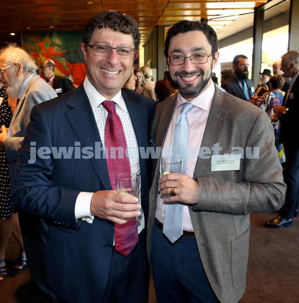 Chanukah Party at NSW State Parliament House. David Lewis & Rabbi Dr. Ben Elton.