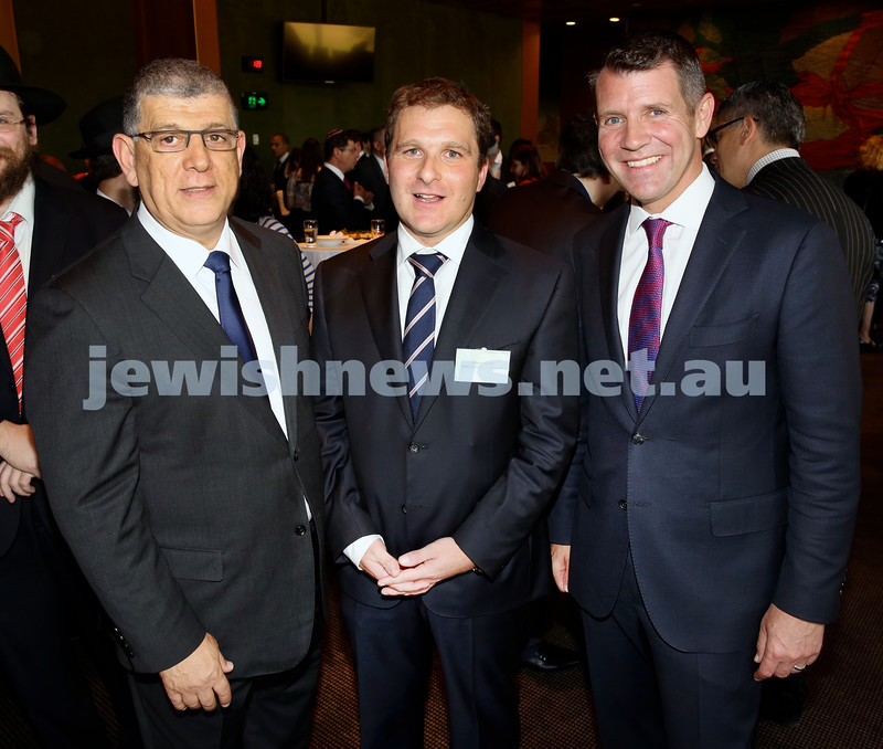 Chanukah Party at NSW State Parliament House. Mp John Ajaka, Jeremy Spinak, Premier Mike Baird. Pic Noel Kessel.