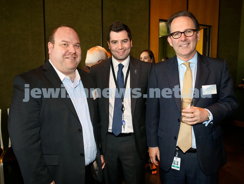 Chanukah Party at NSW State Parliament House. Yair Miller, Darren Bark, Alister Henskens. Pic Noel Kessel