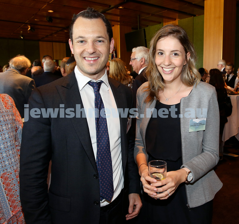 Chanukah Party at NSW State Parliament House. Mark Sheldon & Chelsea Farber. Pic Noel Kessel