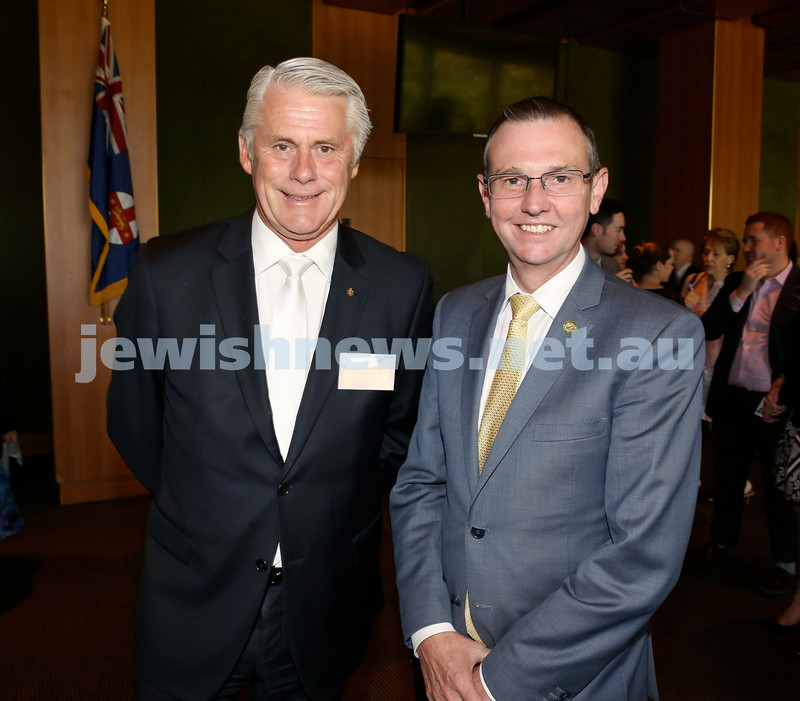 Chanukah Party at NSW State Parliament House. MP Geoff Provest & MP Bruce Notley Smith. Pic Noel Kessel.