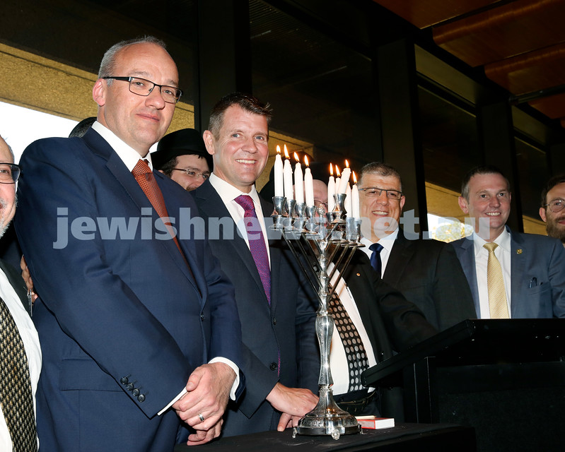 Chanukah at NSW State Parliament. Opp leader Luke Foley, Premier Mike Baird, Minister for Multiculturalism John Ajaka, Member for Coogee Bruce Notley-Smith.