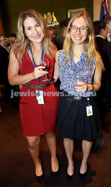 Chanukah Party at NSW State Parliament House. Vikki Campion & Alexandra Byrne. Pic Noel Kessel