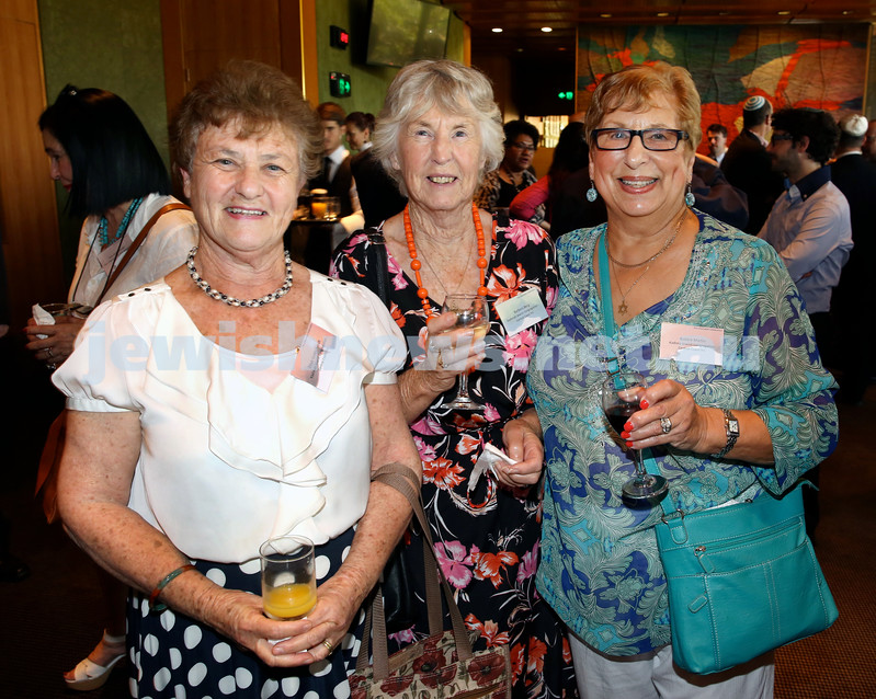 Chanukah Party at NSW State Parliament House. Zillah Goldschmidt, Barbara Berg, Bobbie Martin. Pic Noel Kessel.