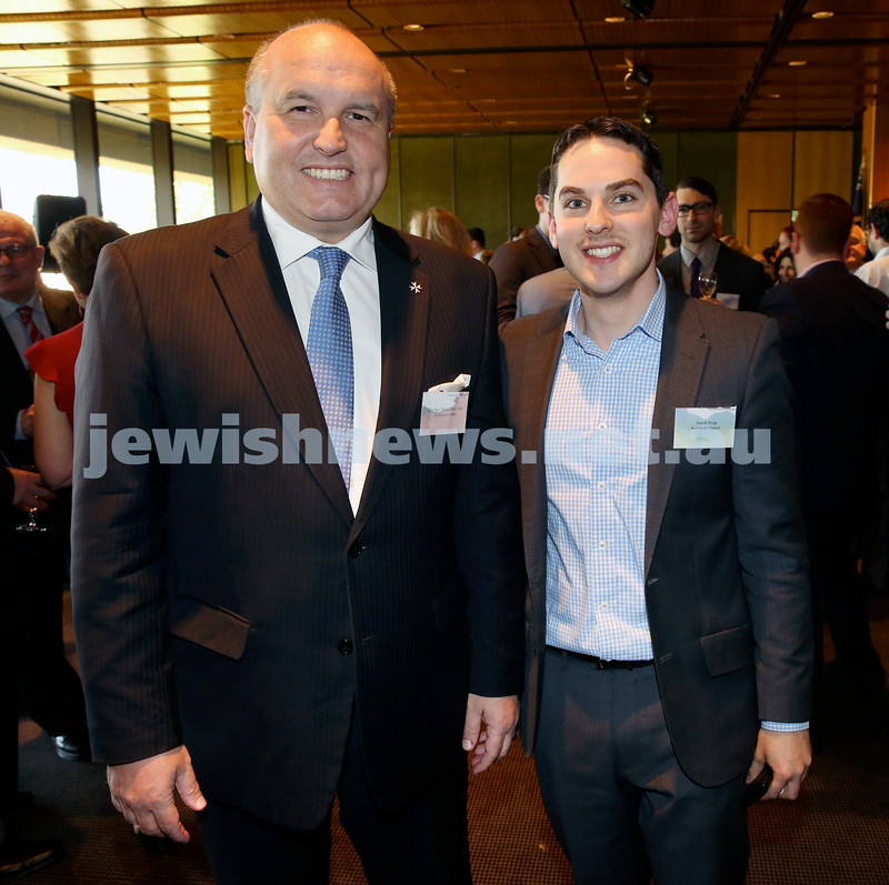 Chanukah Party at NSW State Parliament House. MP David Elliott & Cr David Ossip. Pic Noel Kessel