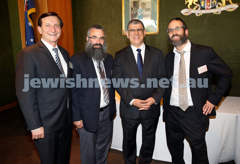 Chanukah Party at NSW State Parliament House. MP Ron Honeig, Rabbi Dovid Slavin, MP John Ajaka, Rabbi Zalman Kastel.