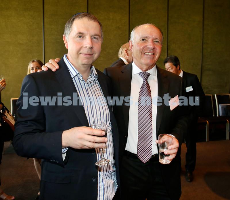 Chanukah Party at NSW State Parliament House. Eric Nobel & Trevor Pogroske. Pic Noel Kessel.