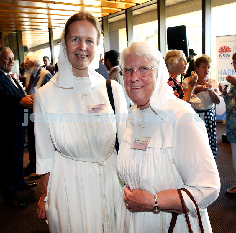 Chanukah Party at NSW State Parliament House. Sister Seraphina & Sister Gideona.