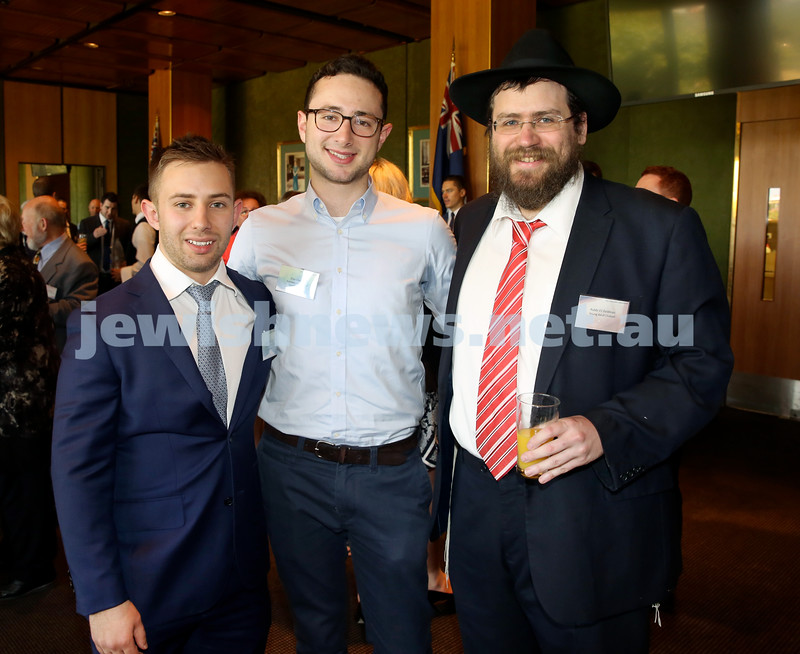 Chanukah Party at NSW State Parliament House. Greg Shargorodsky, Elias Visontay, Rabbi Eli Feldman.
