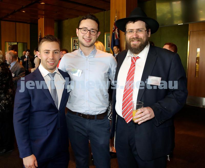 Chanukah Party at NSW State Parliament House. Greg Shargorodsky, Elias Visontay, Rabbi Eli Feldman.