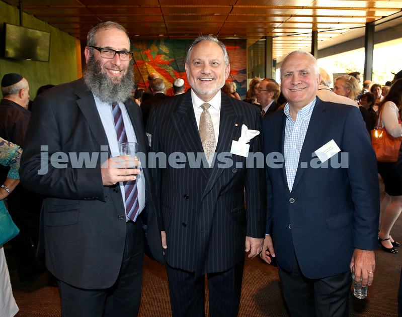 Chanukah Party at NSW State Parliament House. Rabbi Mendel Kastel, Stephen Rothman, Daniel Goulburn. Pic Noel Kessel
