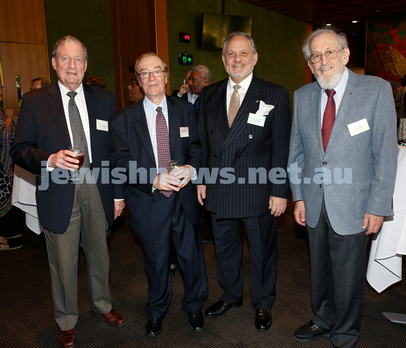 Chanukah Party at NSW State Parliament House. Peter Rossler, Roger Salby, Stephen Rothman, Eli Tal.