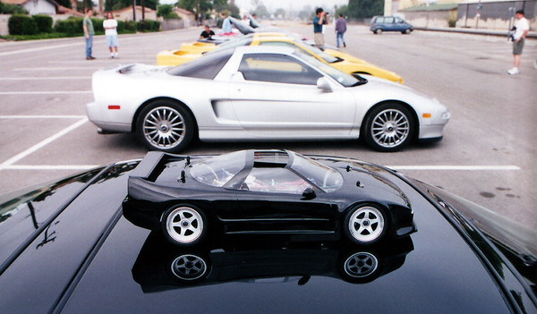 Randy (FuryNSX) brought along his 'Mini-Me', an RC NSX-T.  Unfortunately, the combination of 100 speed film and the infamous Southern Cal marine layer zapped the color and collapsed the depth of field in this shot.