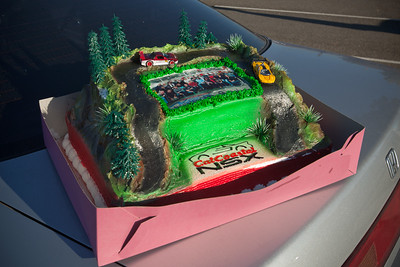 This year's cake features last year's photo, taken by Linda with my camera.  The color scheme reminds me of the Castrol Mugen JGTC NSX