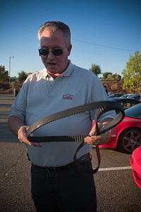 Steve (Ca AGNSX) holds his NSX's 13 year old timing belt, recently replaced with a new one by Ramon (RQNSX).  The old one looks barely used.  I recently had my NSX's 11 year old belt replaced by Ramon and it looked brand new!