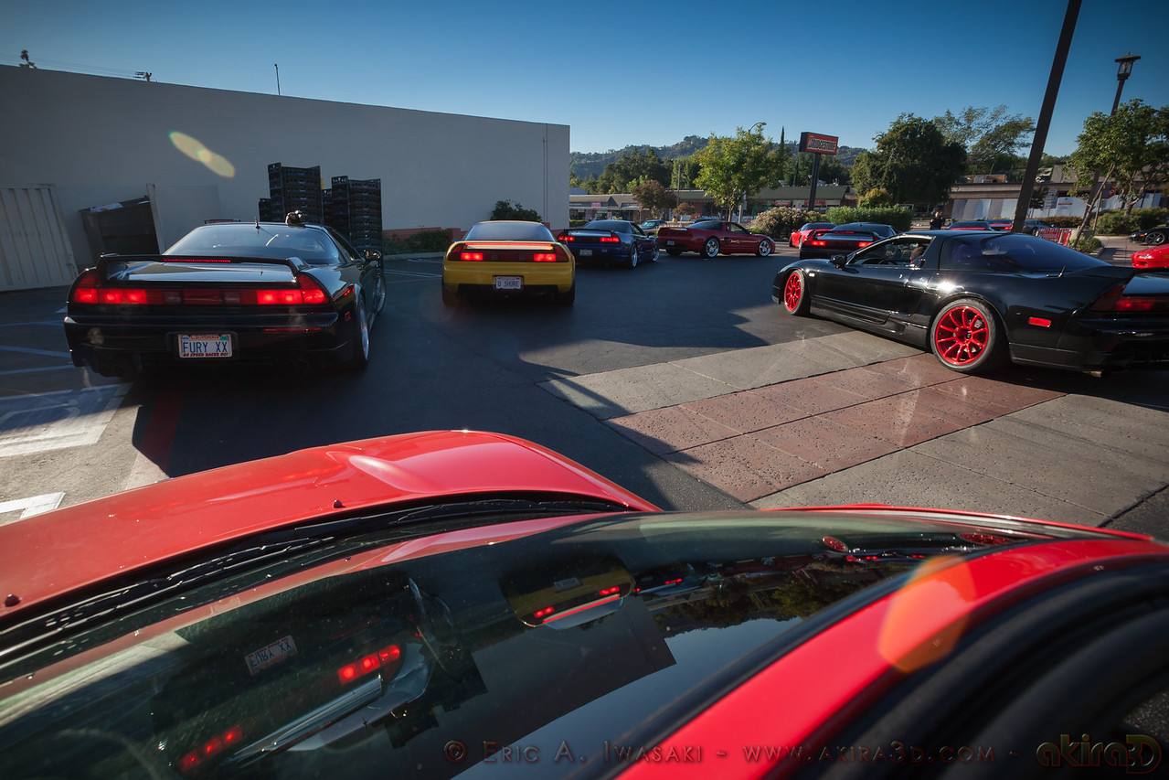I fall in with the San Diego group.  Ramon (RQNSX), driving a black NSX with bright red rims, prepares to depart with another group.
