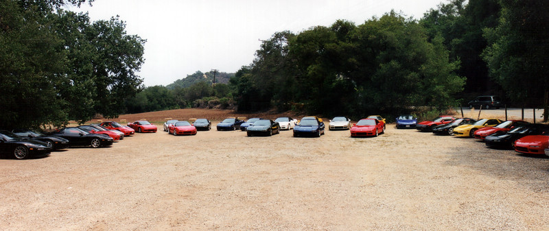 While everyone feasts, I wander over to the lot to get another shot of our cars (panorama)