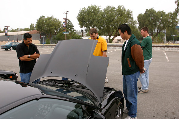Moorpark Metrolink parking lot: One must arrive early to any NSX gathering if they want to check out all of the mods. Here Marc (NSXTC) discusses changes he has made under the hood.
