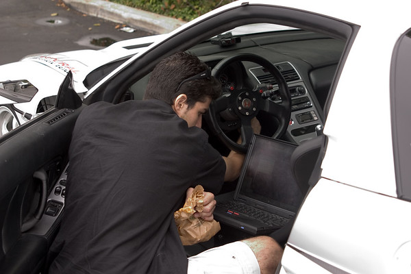 Chris prepares his car for the drive