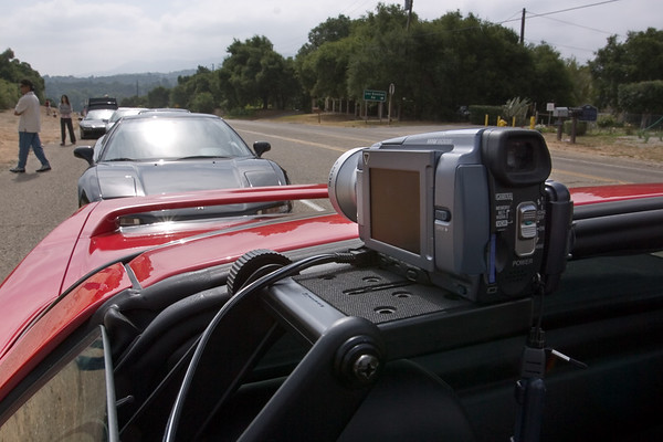 ...video. During the last canyon run, I forgot to turn on the power inverter, so I missed all of the great action. Why I put the camcorder on THIS side of the car with panel facing away from the driver is beyond me. When mounted here, I have no way of verifying when I'm recording!