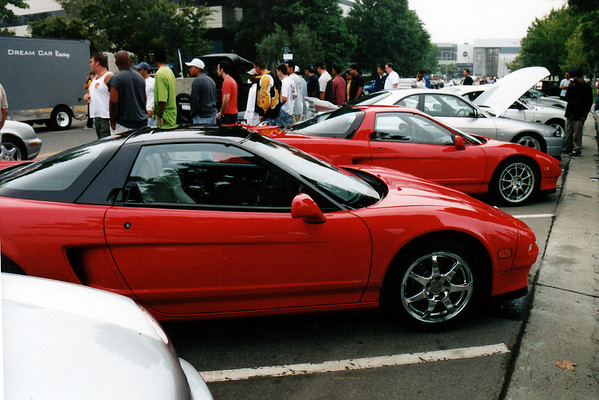 Though we Westside/South Bay NSXers have breakfast plans following the gathering, a pair of NSXs belonging to owners we have not previously met sit among the many cars participating in the spirited drive.  As my wife and I walk around capturing the event on film and video, a seemingly endless stream of cars pours into the lot.  Unfortunately, the infamous SoCal marine layer remains overhead throughout the morning.