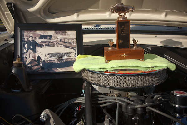 1965 Falcon Sprint...original owner (posing in photo with the trophy that is sitting on the air filter)
