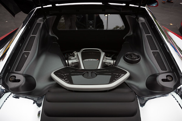 The McLaren's 3.8 litre twin-turbo V8 engine...produces 592bhp