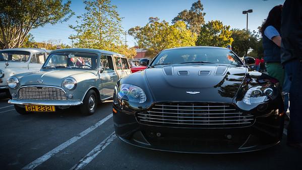 Austin Mini Woody and Aston Martin V12 Vantage S