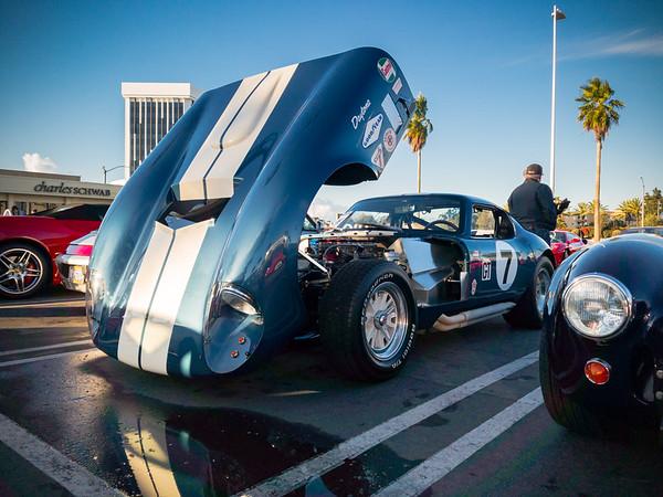 Shelby Daytona's hood is open