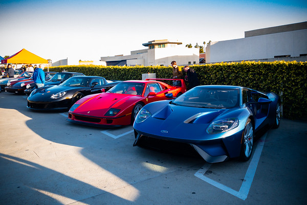 My favorite Porsche, Ferrari, and what could be my favorite Ford are all parked together...must get a quick shot with my smartphone so I can post on FB.  Perhaps this will encourage a few of my friends to drive up here before the event is over.