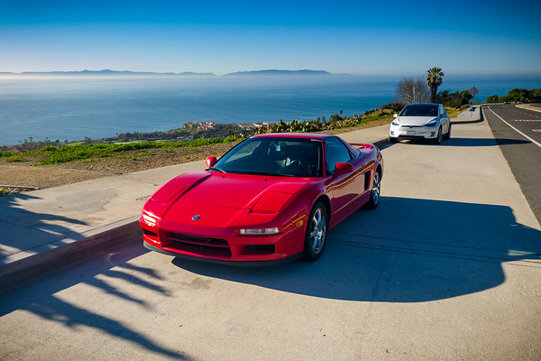 """I take a short cruise after the meet and stop at a scenic overlook to appreciate the view.  The presence of a white Tesla Model X at this vista point is purely coincidental...but I'll take this opportunity to get a rare scenic shot of """"my"""" two vehicles together."""