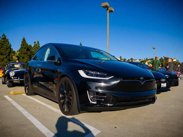 This Tesla Model X (a Raven perhaps?) anchors a black car section