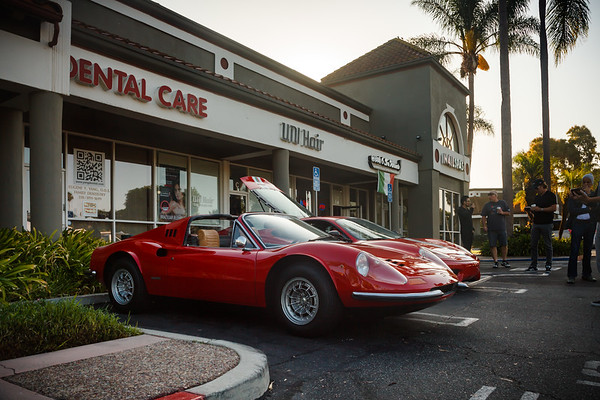 Dino 246 GT and 360 Modena near Caffe Tre Venezie...as always keeping us gearheads happily caffeinated