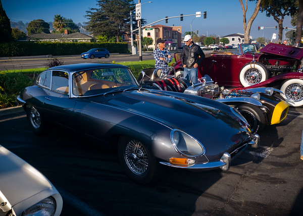Classic Jag E Type and that chrome Lotus 7