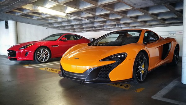 FEBRUARY - Jaguar F Type and McLaren 650S spotted in Motor Trend's area of our parking structure