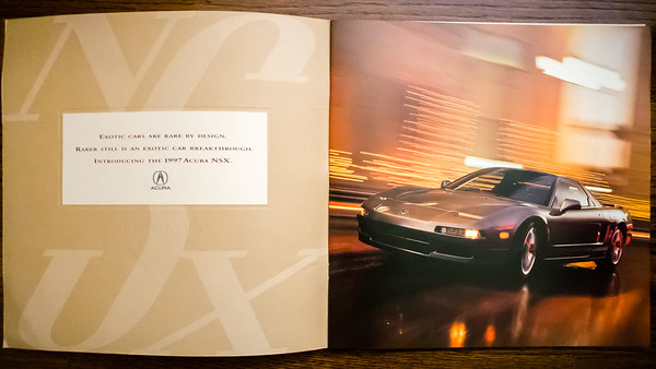 I was looking for my original window sticker, but came across some old NSX brochures I had...including one a colleague gave me when he bought a new 1997 NSX-T (the first NSX I ever rode in)