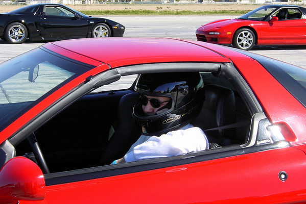 Wearing borrowed helmet, I (akira3d) look ready to participate in my first autocross (photo by Valerie Iwasaki)