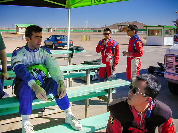 Malcolm and I hang out after our first session in the karts (Photo by Stephen White?)