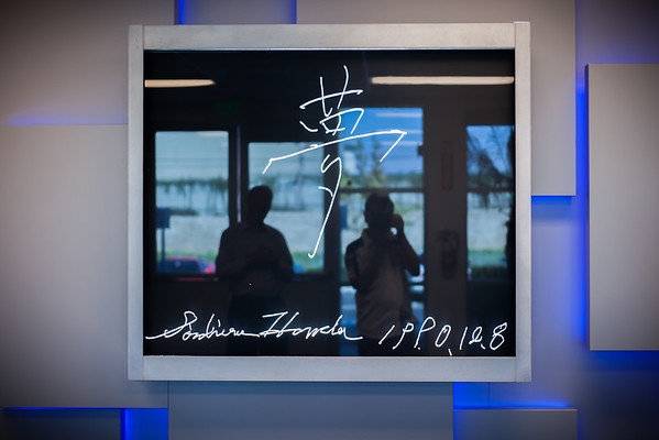 First thing you notice when walking inside the door...a plate of glass signed by Soichiro Honda himself
