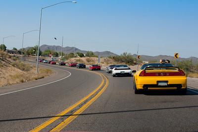 NSXs bunch up at the 74-60 interchange