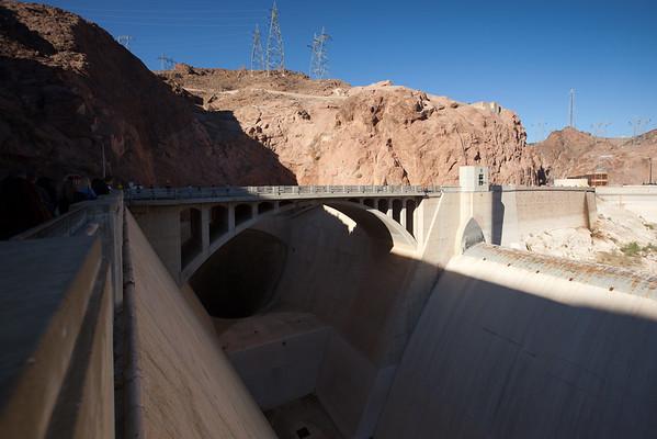 Bridge spanning overflow spillway to Hoover Dam