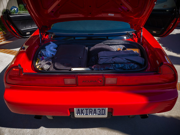 Packing for multi-day road trips in the NSX is always a Tetris-like challenge...