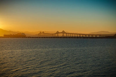 Richmond-San Rafael Bridge during the golden hour