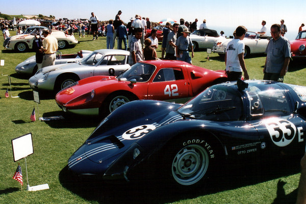 Though I'm not a fan of Porsche's modern-day designs (their Carrera GT Prototype is a notable exception), I am amazed by the lines on these classic Porsche race cars.  Much to my surprise, I find them more interesting than any of the Ferraris on display.