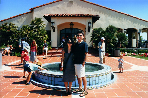 Valerie and I pose by the fountain in front of the Ocean Trails Clubhouse before heading out to check out the classic automobiles
