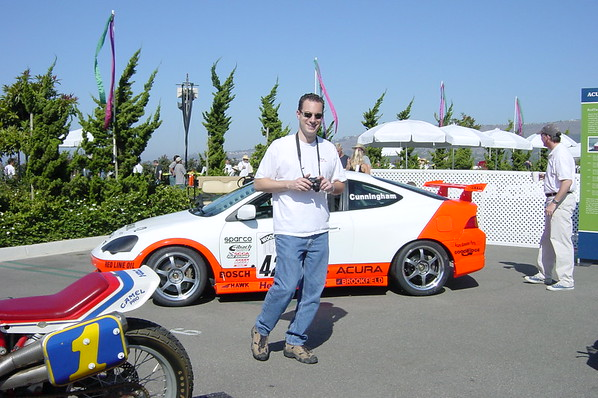 Marc checks out the Realtime race cars on display (Photo by Valerie)