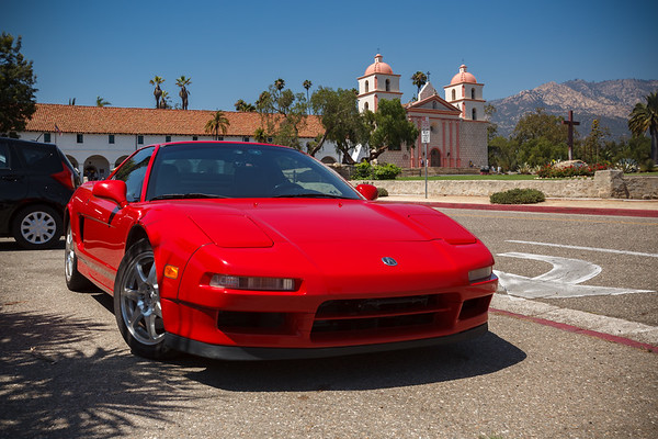 """I have long wanted to take a photo of my NSX with Mission Santa Barbara.  Back in 2000, I organized a small NSX (plus one ITR) drive here, but it was so busy that I could not figure out how we could get a decent group shot in front of this landmark.  Even today, I cannot find an ideal spot (stupid """"No Engine Running"""" sign is in exactly the wrong place)."""
