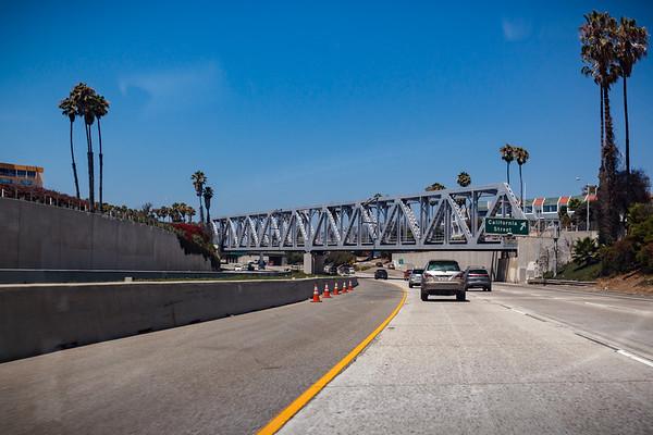 Passing under the Union Pacific Railroad Bridge in Ventura