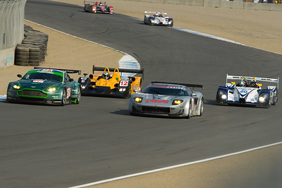 Traffic on Turn 4.  Prototypes must always deal with passing slower GT cars...one of the reasons ALMS races are so exciting