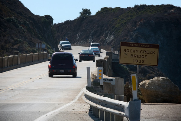 We reach the Rocky Creek Bridge, first of several historic bridges on Highway 1 between Monterey and San Luis Obispo
